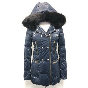 Juicy Couture Puffer Coat Jacket Navy Blue Hood Sm